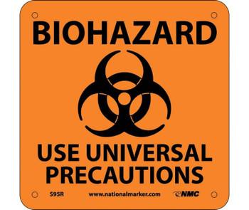 Biohazard Use Universal Precautions (W/ Graphic) 7X7 Rigid Plastic