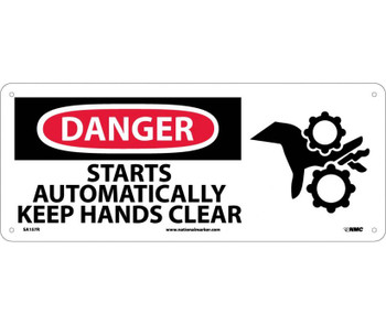 Danger Starts Automatically Keep Hands Clear (W/Graphic) 7X17 Rigid Plastic