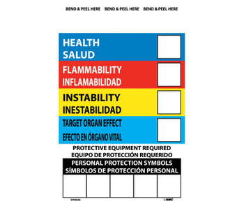 Right To Know Labels Write On Color Bar (Bilingual) 6X4 Ps Vinyl 10/Pk