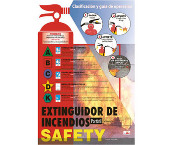 Poster Fire Extinguisher Safety Spanish 24X18