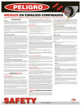 Poster Confined Space Hazards Spanish 24X18