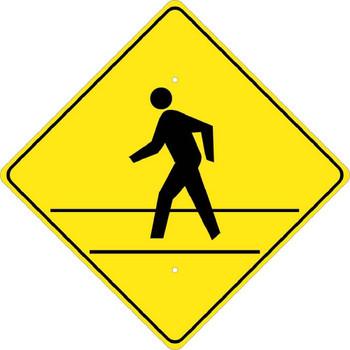 Pedestrian Crossing (Graphic) (Diamond Shape) 24X24 .080 Egp Ref Alum