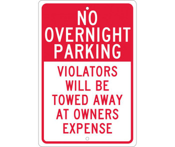 No Overnight Parking Violators Will Be Towed Away At Owners Expense 18X12 .063 Alum