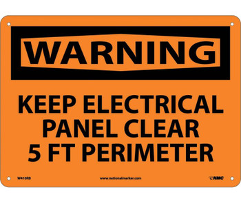 Warning Keep Electrical Panel Clear 5 Ft Perimeter 10X14 Rigid Plastic