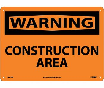 Warning Construction Area 10X14 Rigid Plastic