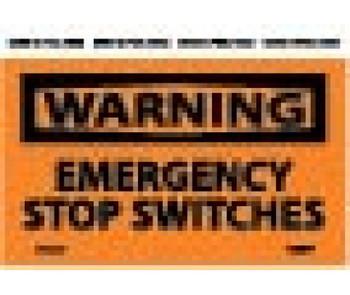 Warning Emergency Stop Switches 3X5 Ps Vinyl 5/Pk