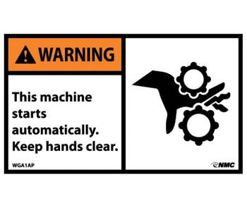 Warning This Machine Starts Automatically..(Graphic) 3X5 Ps Vinyl 5/Pk