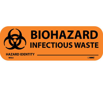 """Labels Biohazard Infectious Waste 1"""" X 3"""" Ps Paper 500/Rl"""