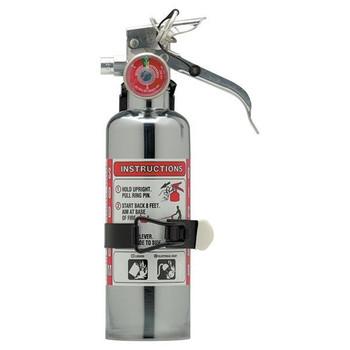 Amerex® 1 lb BC Chrome Extinguisher w/ Aluminum Valve & Vehicle Bracket - 54