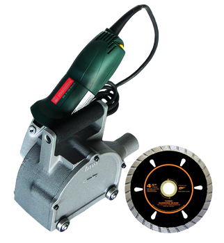 Heavy Duty 2 1/4inch RotopeenElectric Kit with 4 1/2 inch Diamond Turbo Cutting Blade and Dust Collection Attachment