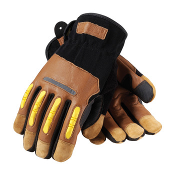 PIP Maximum Safety Reinforced Goatskin Leather Palm Glove with Leather Back, Kevlar Lining and TPR Molded Knuckle Guards - 120-4100