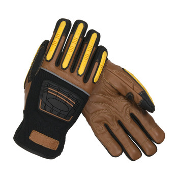 PIP Maximum Safety Reinforced Goatskin Leather Palm Glove with Leather Back, Kevlar Lining and TPR Molded Knuckle and Dorsal Guards - 120-4150
