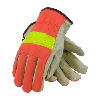 PIP PIP Top Grain Pigskin Leather Palm Drivers Glove with Hi-Vis Nylon Back - Open Cuff - 125-368
