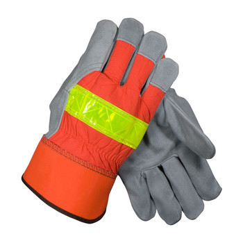 PIP PIP Select Shoulder Split Cowhide Leather Palm Glove with Hi-Vis Nylon Back - Rubberized Safety Cuff - 125-7563