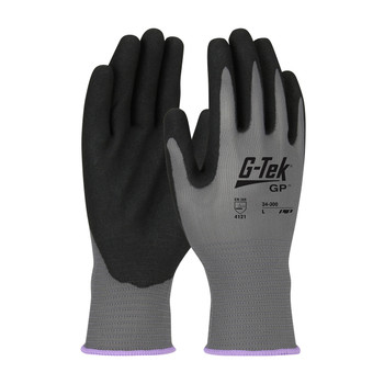PIP G-Tek Seamless Knit Polyester Glove with Nitrile Coated MicroSurface Grip on Palm & Fingers - 13 Gauge - 34-300