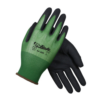 PIP G-Tek Seamless Knit Nylon Glove with Nitrile Coated MicroSurface Grip on Palm & Fingers - 18 Gauge - 34-400