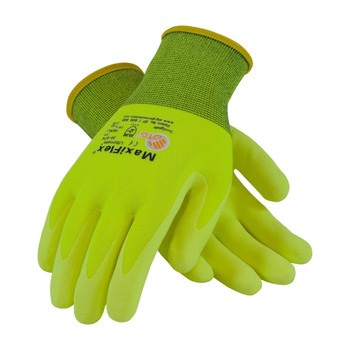 PIP ATG Hi-Vis Seamless Knit Nylon / Lycra Glove with Nitrile Coated MicroFoam Grip on Palm & Fingers - 34-874FY