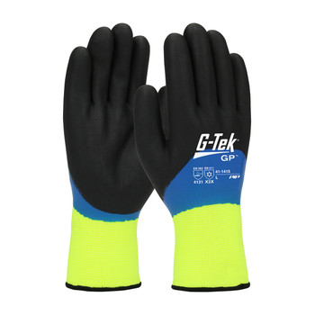 PIP G-Tek Hi-Vis Seamless Knit Nylon Glove with Acrylic Liner and Double Dipped Nitrile Coated Foam Grip on Full Hand - 41-1415