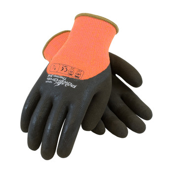PIP PowerGrab Thermo Hi-Vis Seamless Knit Acrylic Terry Glove with Latex MicroFinish Grip on Palm, Fingers & Knuckles - 41-1475