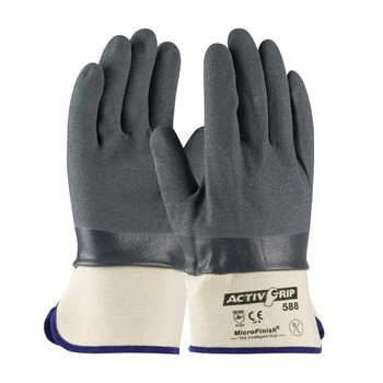 PIP ActivGrip Nitrile Coated Glove with Cotton Liner and MicroFinish Grip - Safety Cuff- 56-AG588