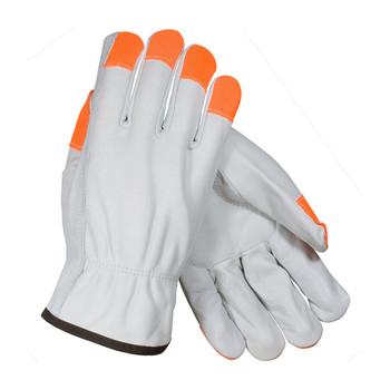 PIP PIP Regular Grade Top Grain Cowhide Leather Drivers Glove with Hi-Vis Fingertips - Keystone Thumb - 68-163HV