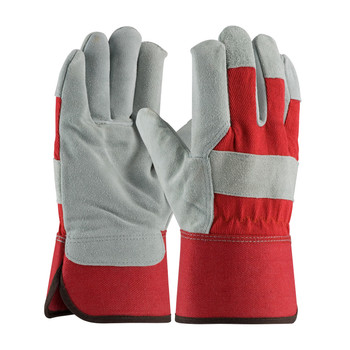 PIP  Split Cowhide Leather Palm Glove with Fabric Back & Red foam Lining - Rubberized Safety Cuff - 78-7825