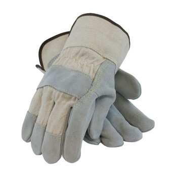 PIP Heavy Side Split Cowhide Leather Palm Glove with Canvas Back and Kevlar Stitching - Rubberized Safety Cuff - 80-8800