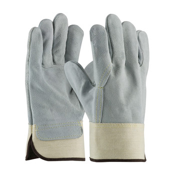 PIP PIP® Heavy Side Split Cowhide Leather Glove with Full Leather Back and Kevlar® Stitching - Rubberized Safety Cuff - 80-8844