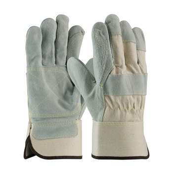 PIP  Heavy Side Split Cowhide Leather Double Palm Glove with Canvas Back - Rubberized Safety Cuff - 80-8855