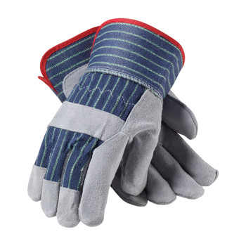 """PIP PIP """"A/B"""" Grade Shoulder Split Cowhide Leather Palm Glove with Fabric Back - Rubberized Safety Cuff - 82-7563"""