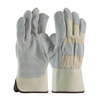 """PIP  """"A/B"""" Grade Shoulder Split Cowhide Leather Palm Glove with Fabric Back - Rubberized Safety Cuff - 82-7583"""