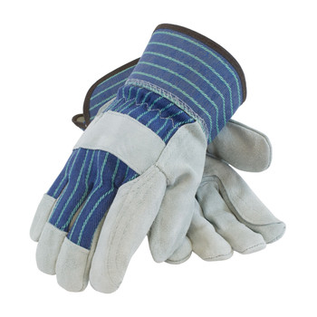 """PIP """"A/B"""" Grade Shoulder Split Cowhide Leather Double Palm Glove with Fabric Back - Rubberized Safety Cuff - 82-7763"""