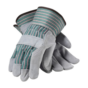 """PIP PIP """"B"""" Grade Shoulder Split Cowhide Leather Palm Glove with Fabric Back - Rubberized Safety Cuff - 83-6563"""