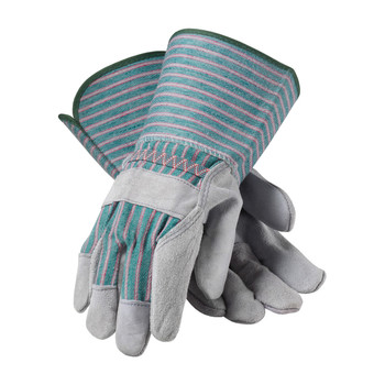 """PIP """"B"""" Grade Shoulder Split Cowhide Leather Palm Glove with Fabric Back - Rubberized Gauntlet Cuff - 83-6663"""