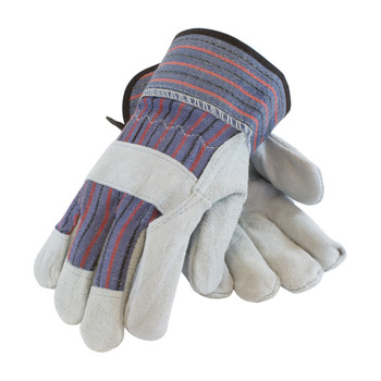 """PIP PIP """"B/C"""" Grade Shoulder Split Cowhide Leather Palm Glove with Fabric Back - Rubberized Safety Cuff - 84-7532"""