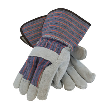 """PIP """"B/C"""" Grade Shoulder Split Cowhide Leather Palm Glove with Fabric Back - Rubberized Gauntlet Cuff - 84-7632"""