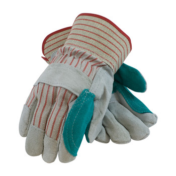 """PIP """"B/C"""" Grade Shoulder Split Cowhide Leather Double Palm Glove with Fabric Back and Jointed Inner Palm - Rubberized Safety Cuff - 85-7512J"""