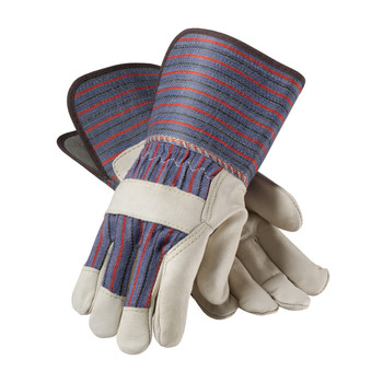 PIP Regular Grade Top Grain Cowhide Leather Palm Glove with Fabric Back - Gauntlet Cuff - 87-1663