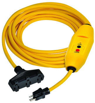 100 ft. Yellow Inline 15 AMP GFCI Cord Set with Triple Tap Connector