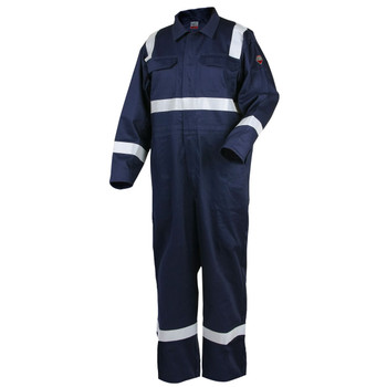 """Revco Deluxe FR Cotton Navy Coverall  with 2"""" Reflective Tape CF2216-NV"""