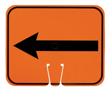 SAFETY CONE SIGNS, LEFT ARROW, 10.375 X 12.625