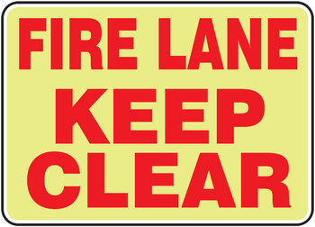 """Glow-In-The-Dark Safety Sign: Fire Lane - Keep Clear 10"""" x 14"""" - MLVH506GP10"""