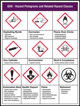 """GHS Pictogram Poster: GHS - Hazard Pictograms and Related Hazard Classes 24"""" x 18"""" - PST177"""