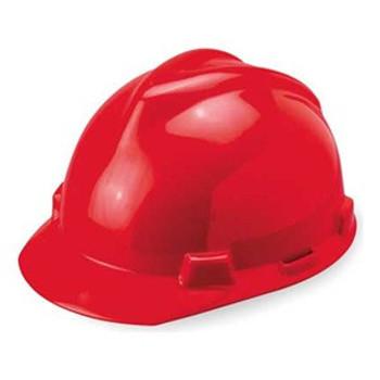 MSA V-Gard Red Ratchet Hard Hat - 475363