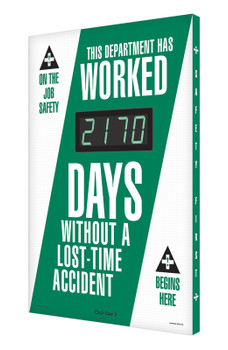 """Digi-Day® 3 Electronic Safety Scoreboards: This Department Has Worked _ Days Without A Lost Time Accident 28"""" x 20"""" - SCK170"""