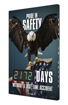 """Digi-Day® 3 Electronic Safety Scoreboards: Pride In Safety _ Days Without A Lost Time Accident 28"""" x 20"""" - SCK172"""