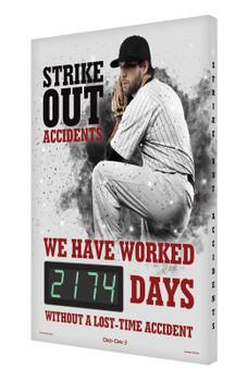 "Digi-Day® 3 Electronic Safety Scoreboards: Strike Out Accidents 28"" x 20"" - SCK174"