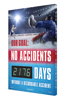 """Digi-Day® 3 Electronic Safety Scoreboards: Our Goal - No Accidents _ Days Without A Recordable Injury 28"""" x 20"""" - SCK176"""