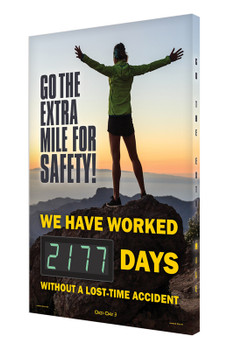 """Digi-Day® 3 Electronic Safety Scoreboards: Go The Extra Mile For Safety 28"""" x 20"""" - SCK177"""