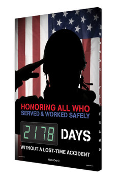 """Digi-Day® 3 Electronic Safety Scoreboards: Honoring All Who Served And Worked Safely 28"""" x 20"""" - SCK178"""